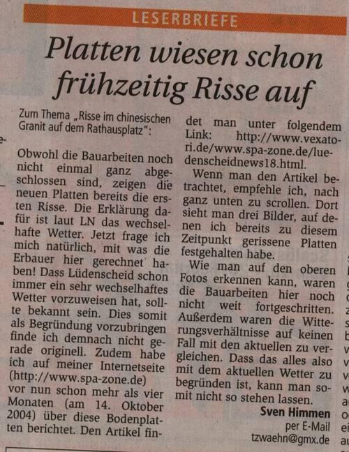 Lüdenscheid #20 - Kommentar über die gerissenen Platten